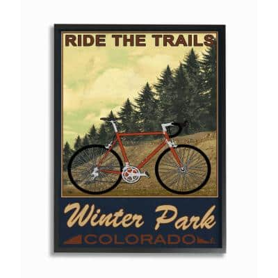 """16 in. x 20 in. """"Ride the Trails Winter Park Colorado Poster Style"""" by Marcus Prime Framed Wall Art"""