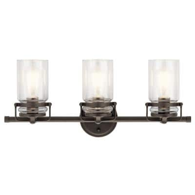 Brinley 3-Light Olde Bronze Vanity Light with Clear Glass