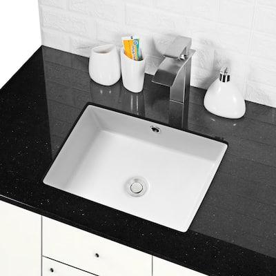 17 in. x 12 in. Rectangle Undermount Bathroom Vessel Sink White