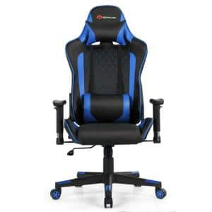 Blue PVC and PU Faux Leather Massage Game Chair with Adjustable Arms and Headrest