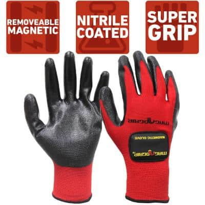 Medium Nitrile Coated Gloves with 1-Removable Magnet (2-Pair)