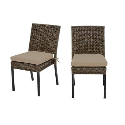 Laguna Point Brown Wicker Outdoor Patio Dining Chair with CushionGuard Putty Tan Cushions (2-Pack)