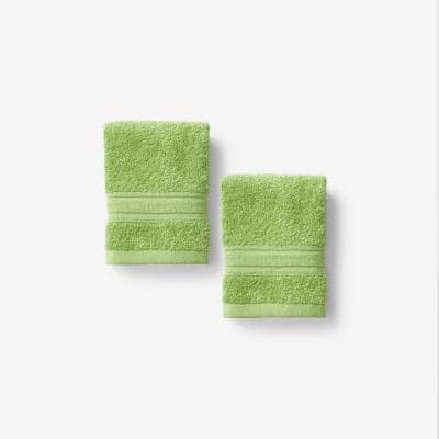 Company Cotton Field Green Solid Turkish Cotton Wash Cloth (Set of 2)