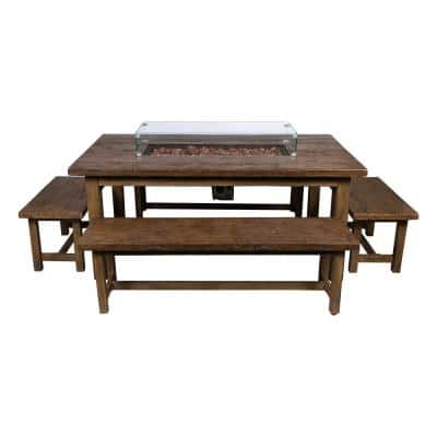 40 in. W Merida Outdoor Propane Gas Oak Fire Dining Set with Glass Guard (5-Piece)