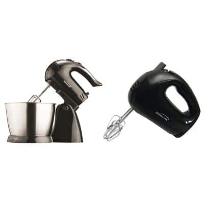 3 Qt. 5-Speed Black Electric Stand Mixer with Bowl and 5-Speed Black Electric Hand Mixer