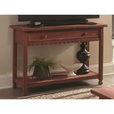 Country Cottage 42 in. Red Rectangle Wood Console Table with Drawer