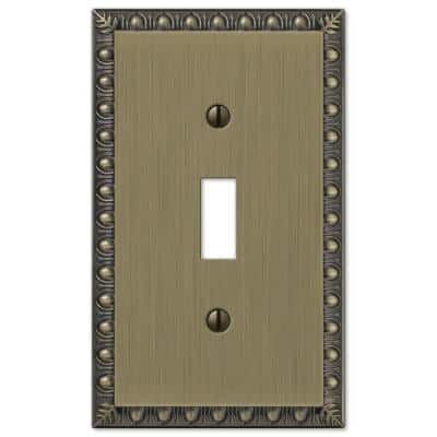 Antiquity 1 Gang Toggle Metal Wall Plate - Brushed Brass