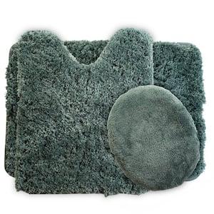 3-Piece 19.5 in. x 24 in. Green Super Plush Non-Slip Bath Mat Set
