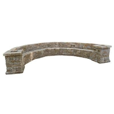 Rumblestone 174.5 in. W x 31.5 in. H x 105.75 in. L Large Curved Concrete Bench Kit in Cafe