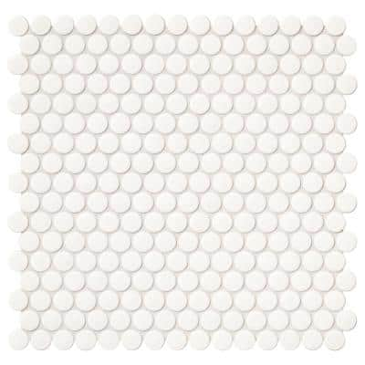 Restore 11 in. x 13 in. Glossy White Ceramic Penny Round Mosaic Wall Tile (1.06 sq. ft./Each)