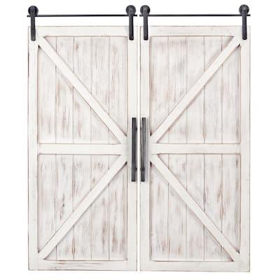 34 in. x 14 in. Carriage House Barn Door Wooden Wall Plaque Set