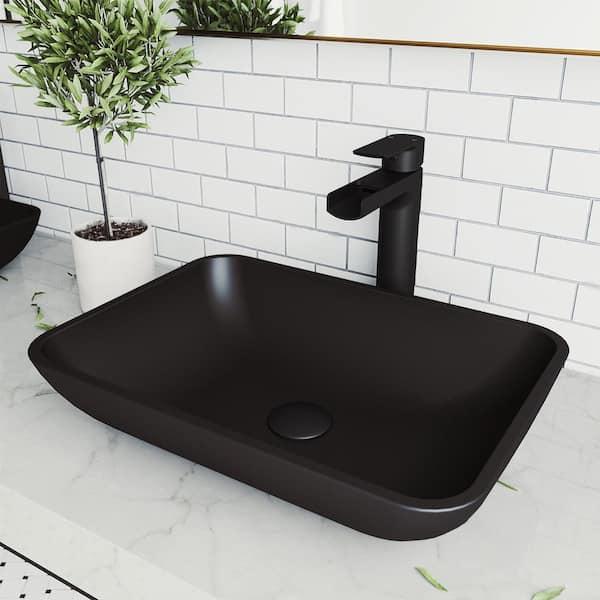 Vigo Matte Shell Sottile Glass Rectangular Vessel Bathroom Sink In Black Vg07110 The Home Depot