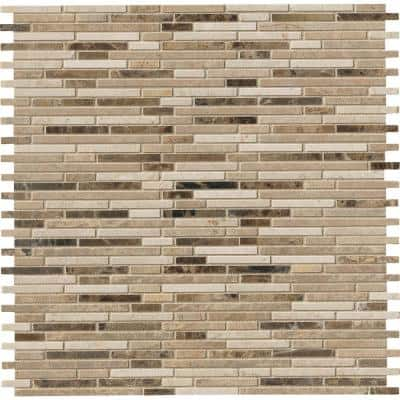 Emperador Blend Bamboo Beige 12 in. x 12 in. x 10 mm Honed Marble Mosaic Tile (10 sq. ft. / case)