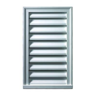 24 in. x 36 in. Rectangular White Polyurethane Weather Resistant Gable Louver Vent