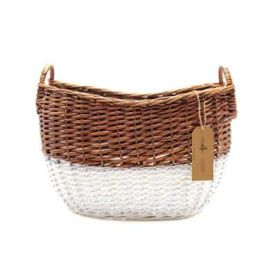 12 in. D x 20 in. W x 16 in. H Large Curved Wicker Storage Basket