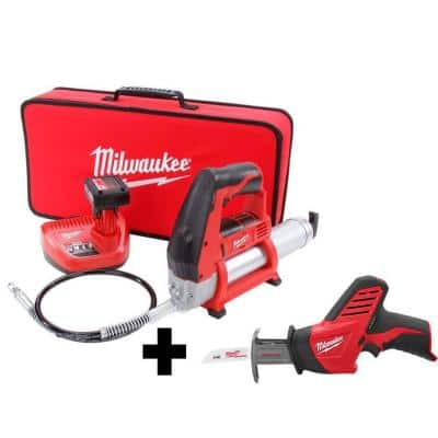 M12 12-Volt Lithium-Ion Cordless Grease Gun XC Kit with M12 Hackzall
