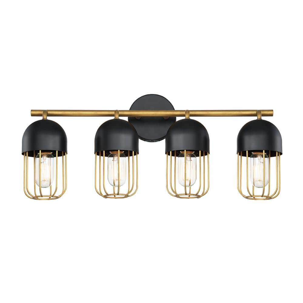 Eurofase Palmerston 24 In 4 Light Matte Black Vanity Light With Gold Shade 35962 014 The Home Depot