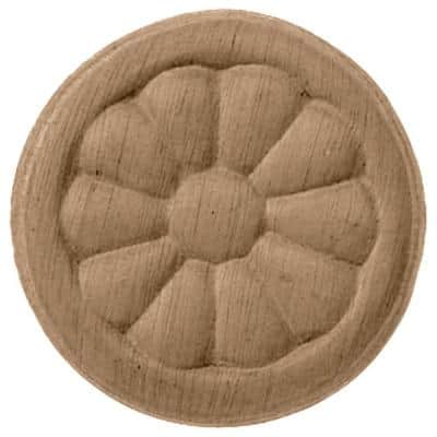 5 in. x 3/4 in. x 5 in. Unfinished Wood Maple Reese Rosette