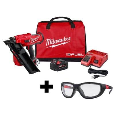 M18 FUEL 3-1/2 in. 18-Volt 30-Degree Lithium-Ion Brushless Framing Nailer Kit and Performance Safety Glasses with Gasket