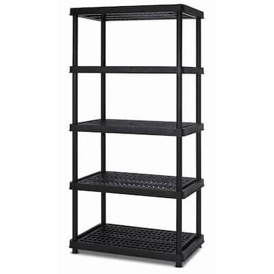 Black 5-Tier Plastic Freestanding Garage Storage Shelving Unit (36 in. W x 72 in. H x 18 in. D)