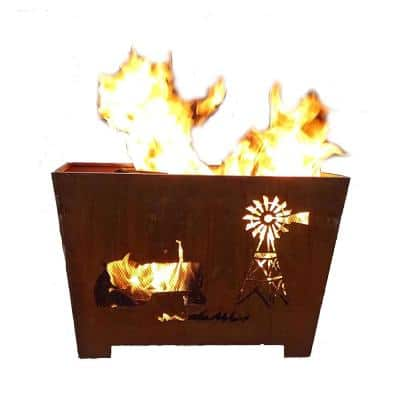 Farm 24 in. x 16 in. Square Metal Wood Burning Fire Pit in Rust
