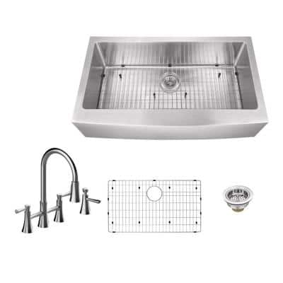 All-in-One Farmhouse Apron Front 16-Gauge Stainless Steel 33 in. 0-Hole Single Bowl Kitchen Sink with Bridge Faucet