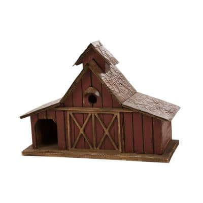 14.96 in. H Oversized Rustic Wood Barn Birdhouse