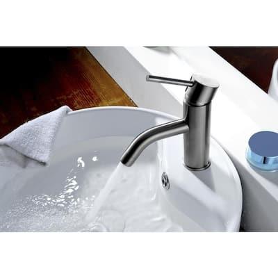 Bravo Series Single Hole Single-Handle Low-Arc Bathroom Faucet in Brushed Nickel