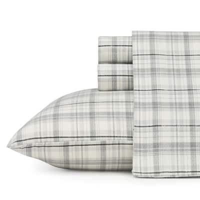 Beacon Hill 4-Piece Pastel Gray Plaid Flannel Full Sheet Set