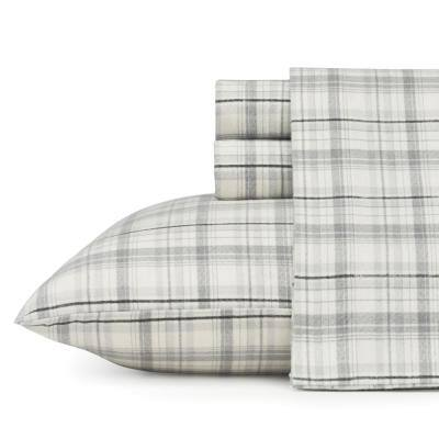 Beacon Hill 4-Piece Pastel Gray Plaid Flannel King Sheet Set