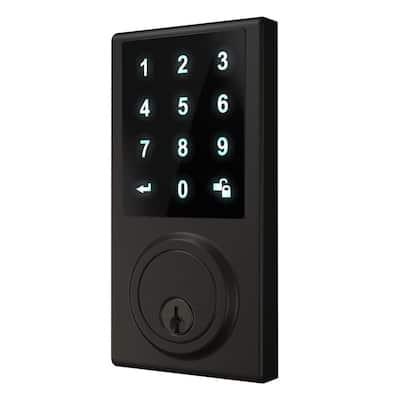 Black Touchscreen ZWave Single Cylinder Smartlock Deadbolt