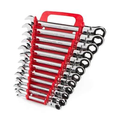 8-19 mm Flex-Head Ratcheting Combination Wrench Set (12-Piece)