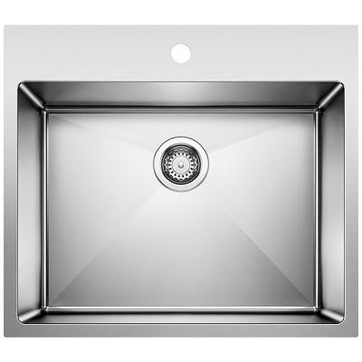 Quatrus 25 in. x 22 in. x 12 in. Stainless Steel Dual Mount Laundry Sink in Brushed Satin