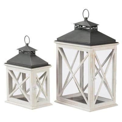 Ivory Wood Candle Hanging or Tabletop Lantern with Metal Top (Set of 2)
