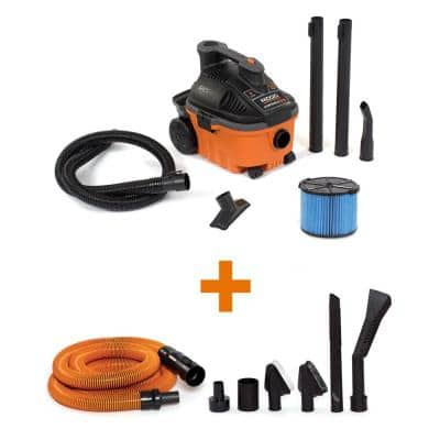 4 Gallon 5.0-Peak HP Portable Wet/Dry Shop Vacuum with Fine Dust Filter, Hose, Accessories and Premium Car Cleaning Kit