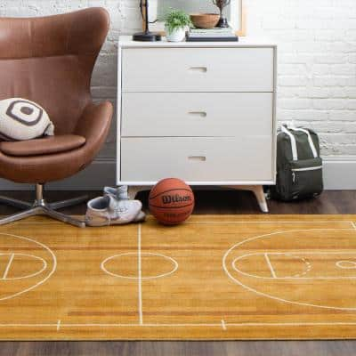 Basketball Court Tan 5 ft. x 8 ft. Contemporary Area Rug