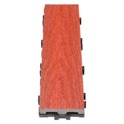 UltraShield Naturale 3 in. x 1 ft. Quick Composite Single Slat Deck Tile in Swedish Red (4-Pieces per Box)