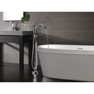Synergy 60 in. Acrylic Flatbottom Bathtub with Integrated Waste and Floor-Mount Tub Filler in White
