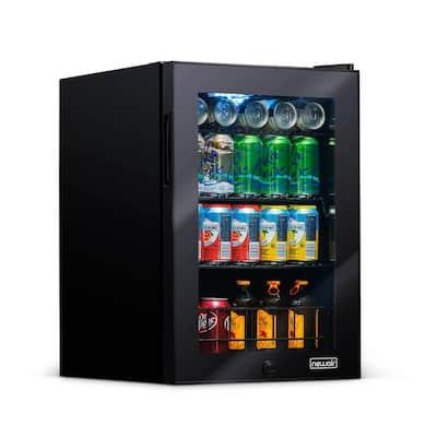 17 in. 90 (12 oz.) Can Cooler Freestanding Beverage Fridge with Adjustable Shelves, Modern Black