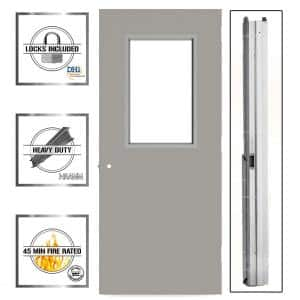 36 in. x 80 in. Gray Flush Steel Vision Light Commercial Door Unit with Hardware