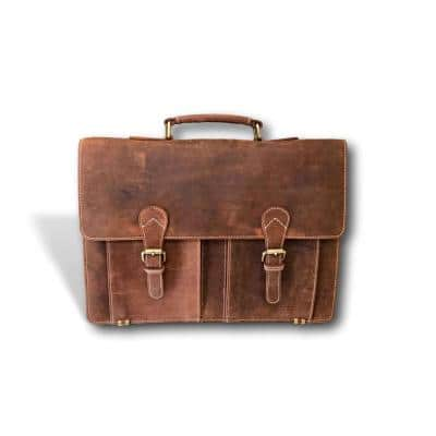 Brown Handmade Leather Messenger Bag with Adjustable 57 In. Strap and 18 In. Laptop Compartment