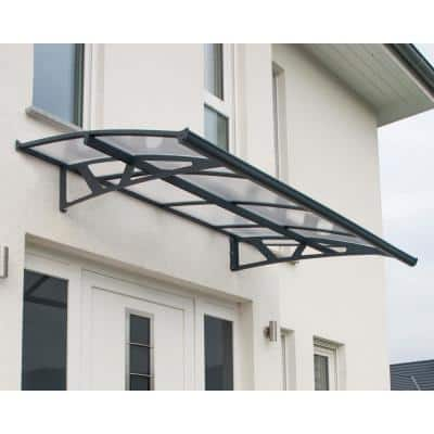 Amsterdam 2230 7 ft. 4 in. Gray/Clear Door Canopy Awning