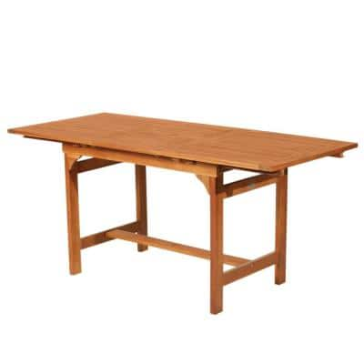Acacia Wood Slat Rectangular Extendable Outdoor Dining Table