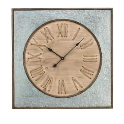 31.5 in. Galvanized Square Metal / Wood Wall Clock