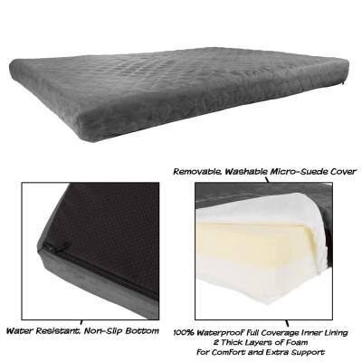 Large Gray Waterproof Memory Foam Pet Bed