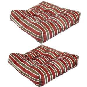 Red Square Striped Tufted Outdoor Seat Cushions Classic (Set of 2)