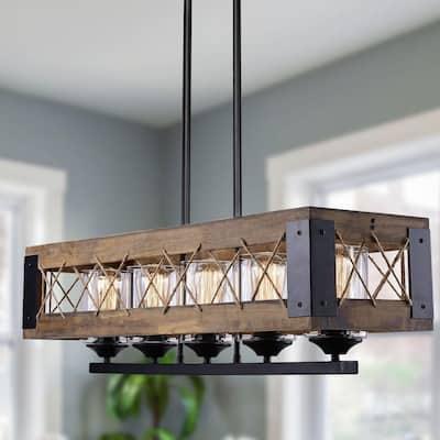 Modern Farmhouse Chandelier, Black Rectangular Dining Room Chandelier, 5-Light Kitchen Island Natural Wood Pendant Light