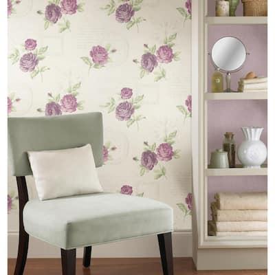 Floral Washable Purple Wallpaper Home Decor The Home Depot