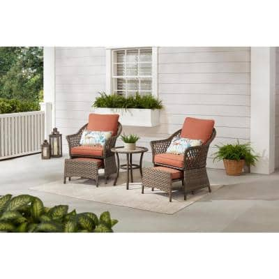 Valley Spring 5-Piece Wicker Patio Conversation Set with Sienna Cushions