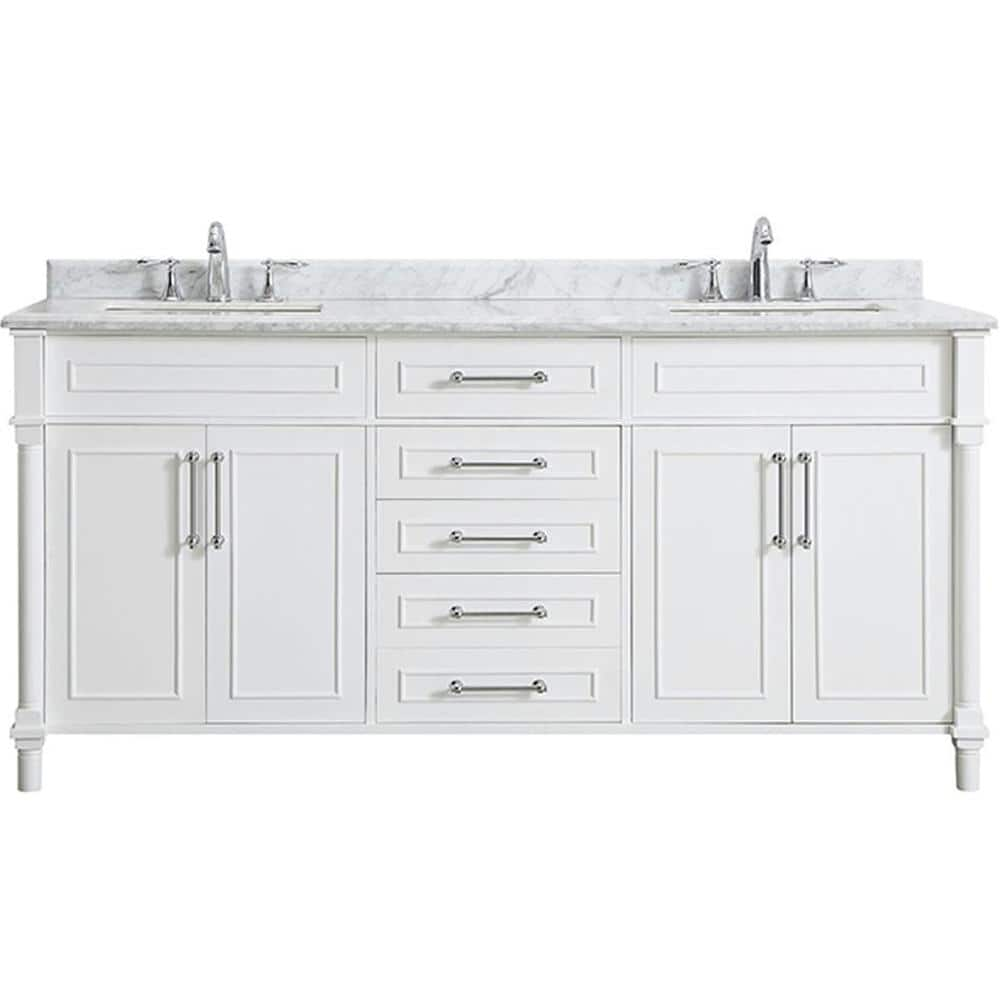 Home Decorators Collection Aberdeen 72 In W X 22 In D Bath Vanity In White With Carrara Marble Top With White Sinks Aberdeen 72w The Home Depot